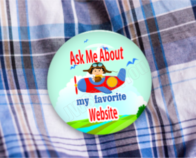 "Favorite Website Airplane 2.25"" Button"