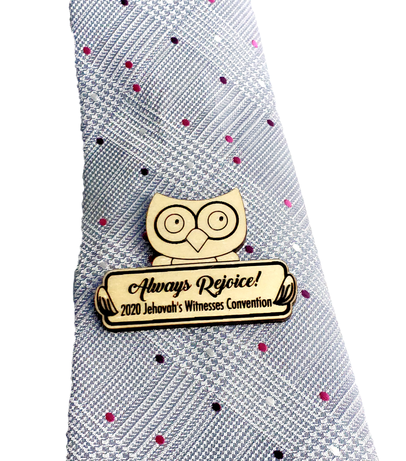 Always Rejoice 2020 Convention Pin Wooden - Owl