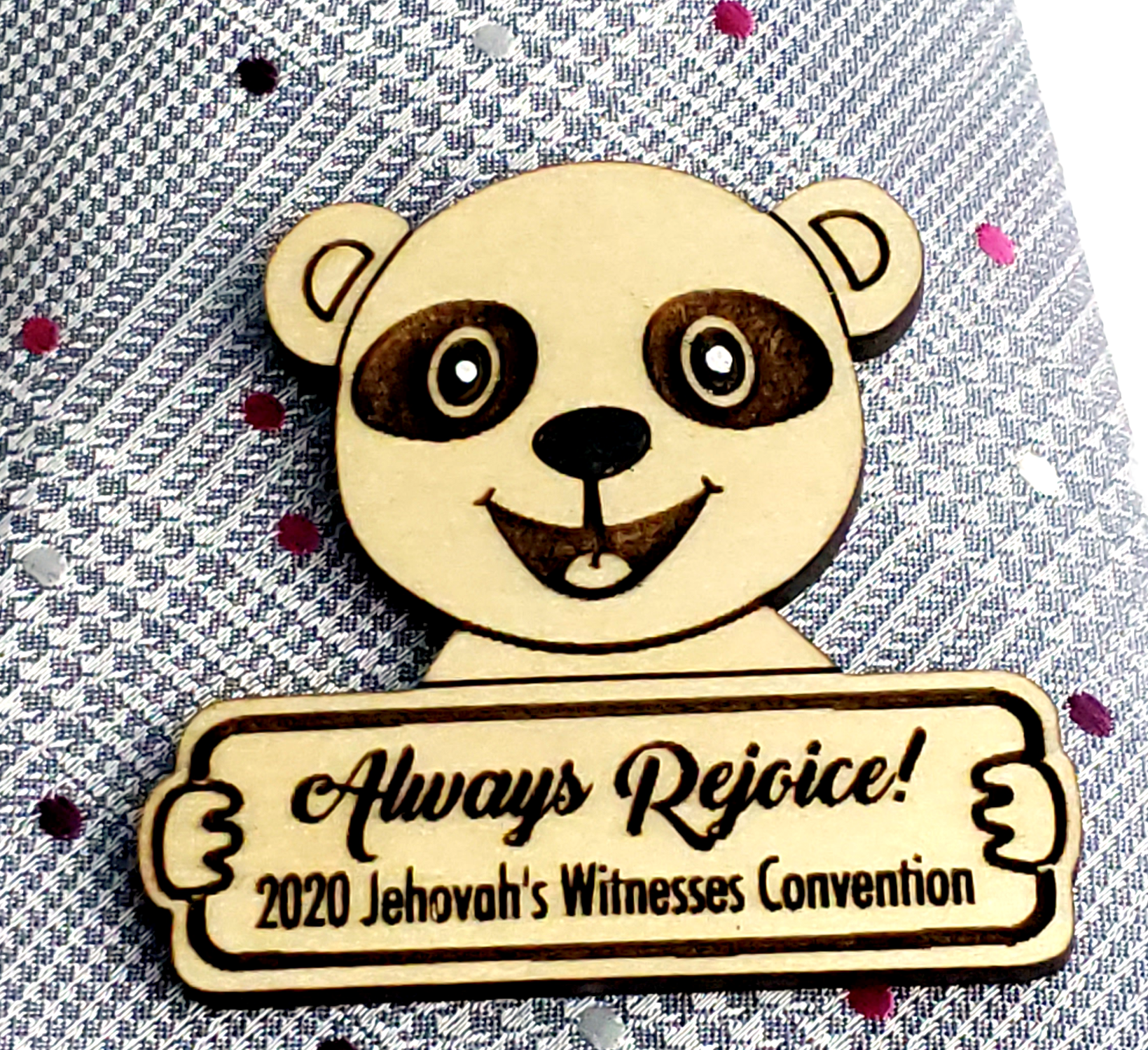 Always Rejoice 2020 Convention Pin Wooden - Panda