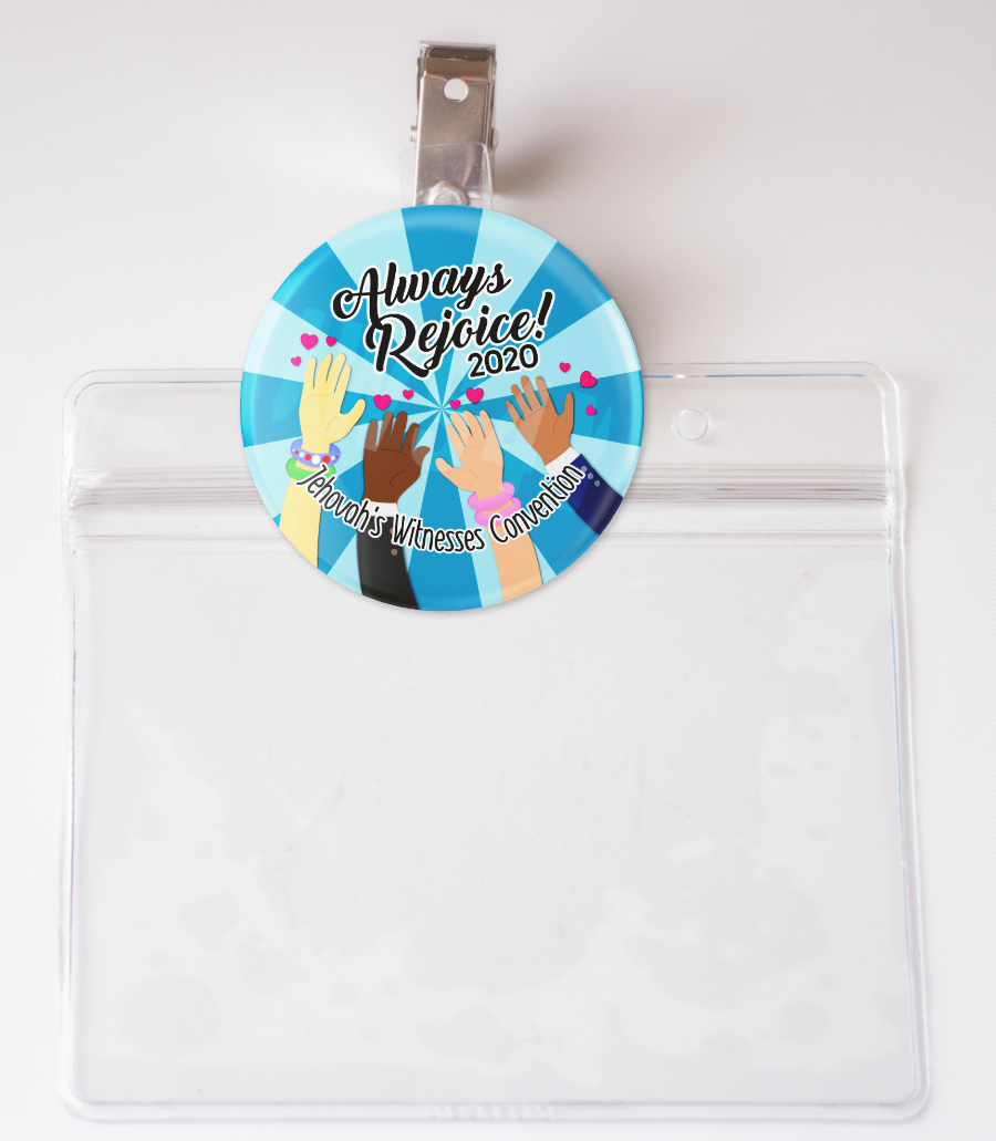 2020 Always Rejoice Convention Badge Card Holder & Pin