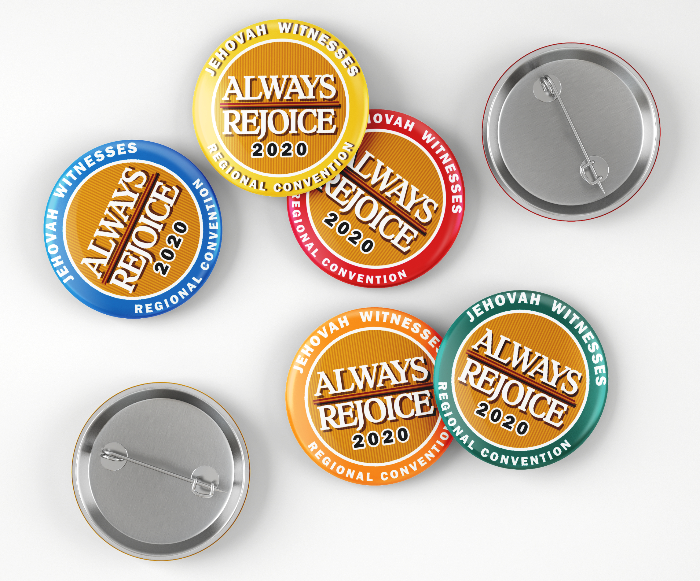 Always Rejoice 2020 Convention Button Pin Gifts -Medallion Theme