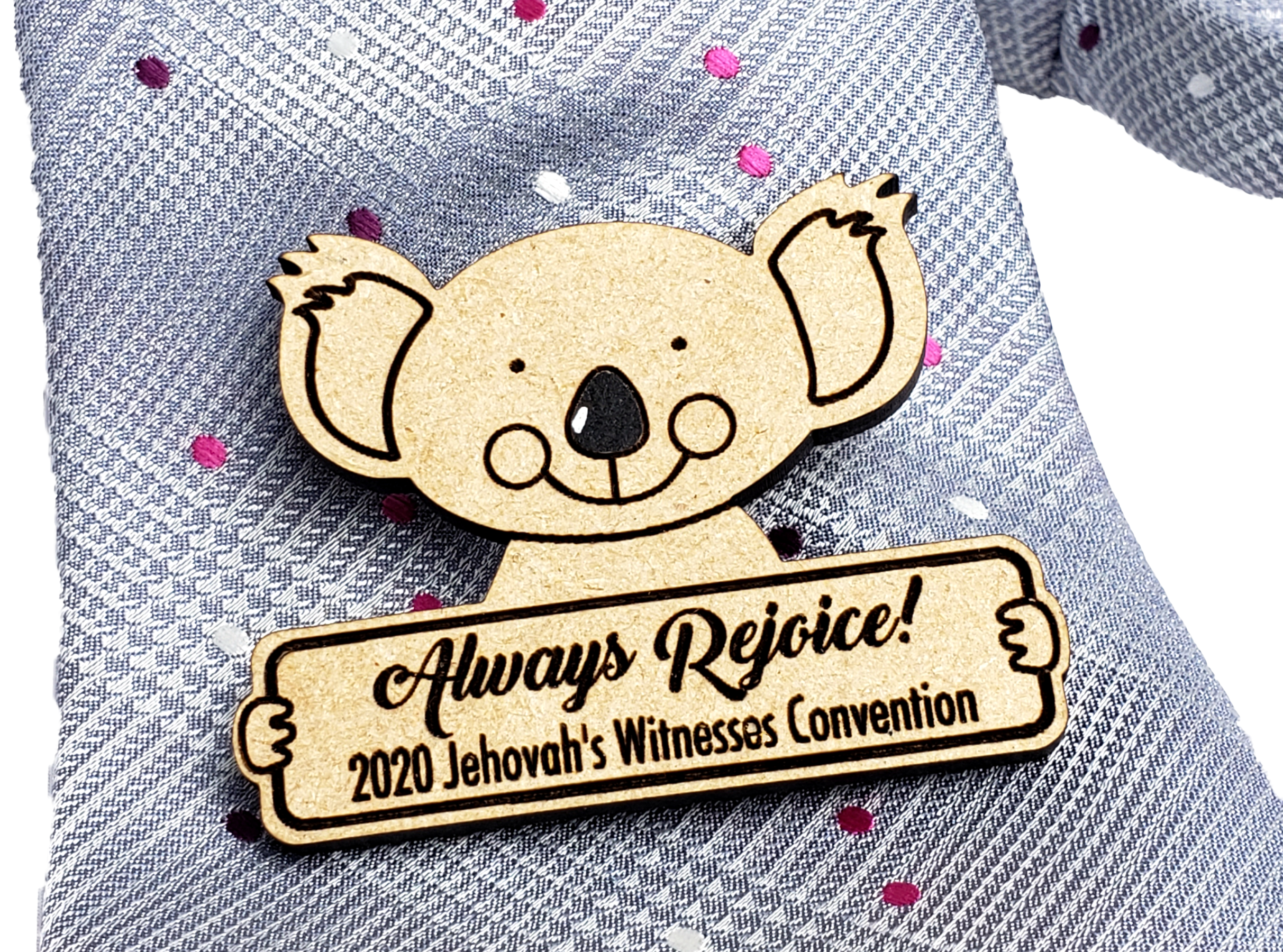 Always Rejoice 2020 Convention Pin Wooden - Koala