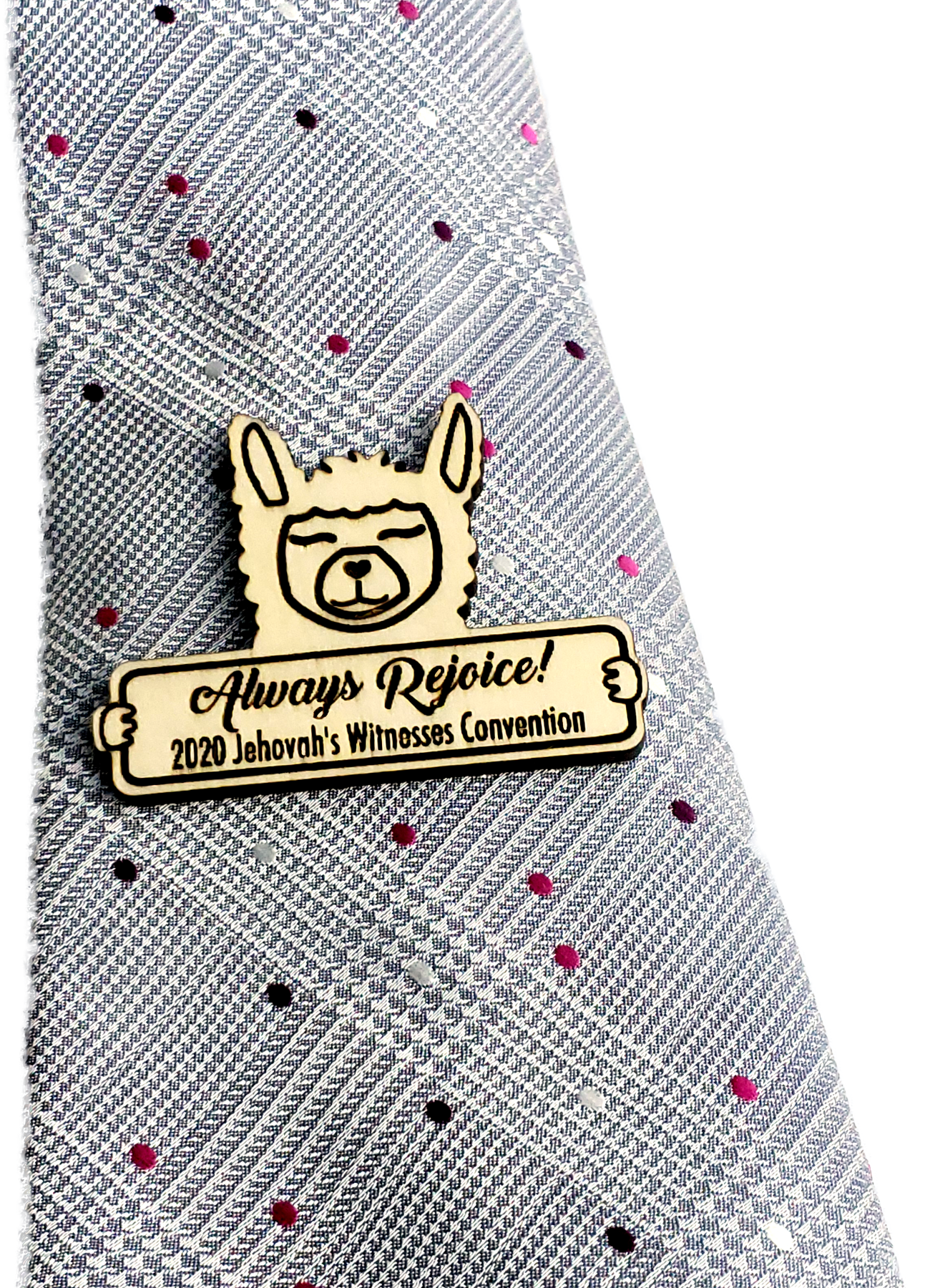 Always Rejoice 2020 Convention Pin Wooden - Llama