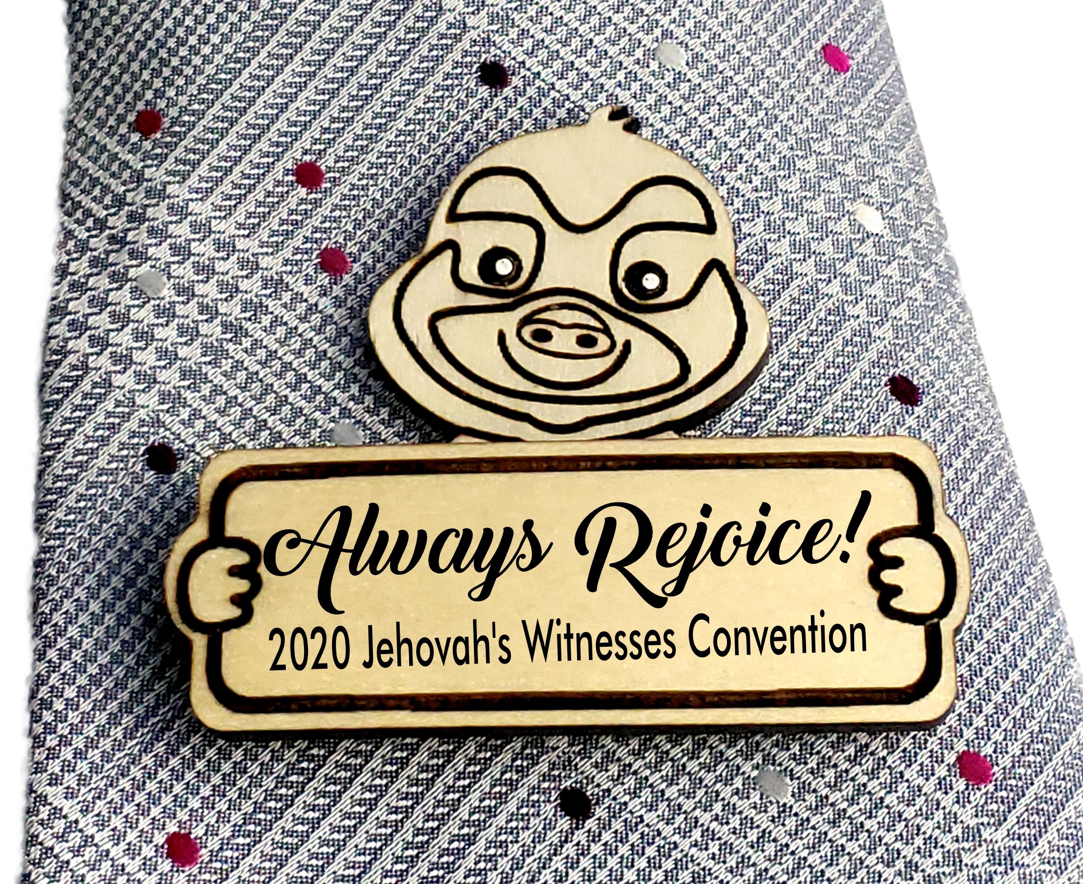 Always Rejoice 2020 Convention Pin Wooden - Sloth