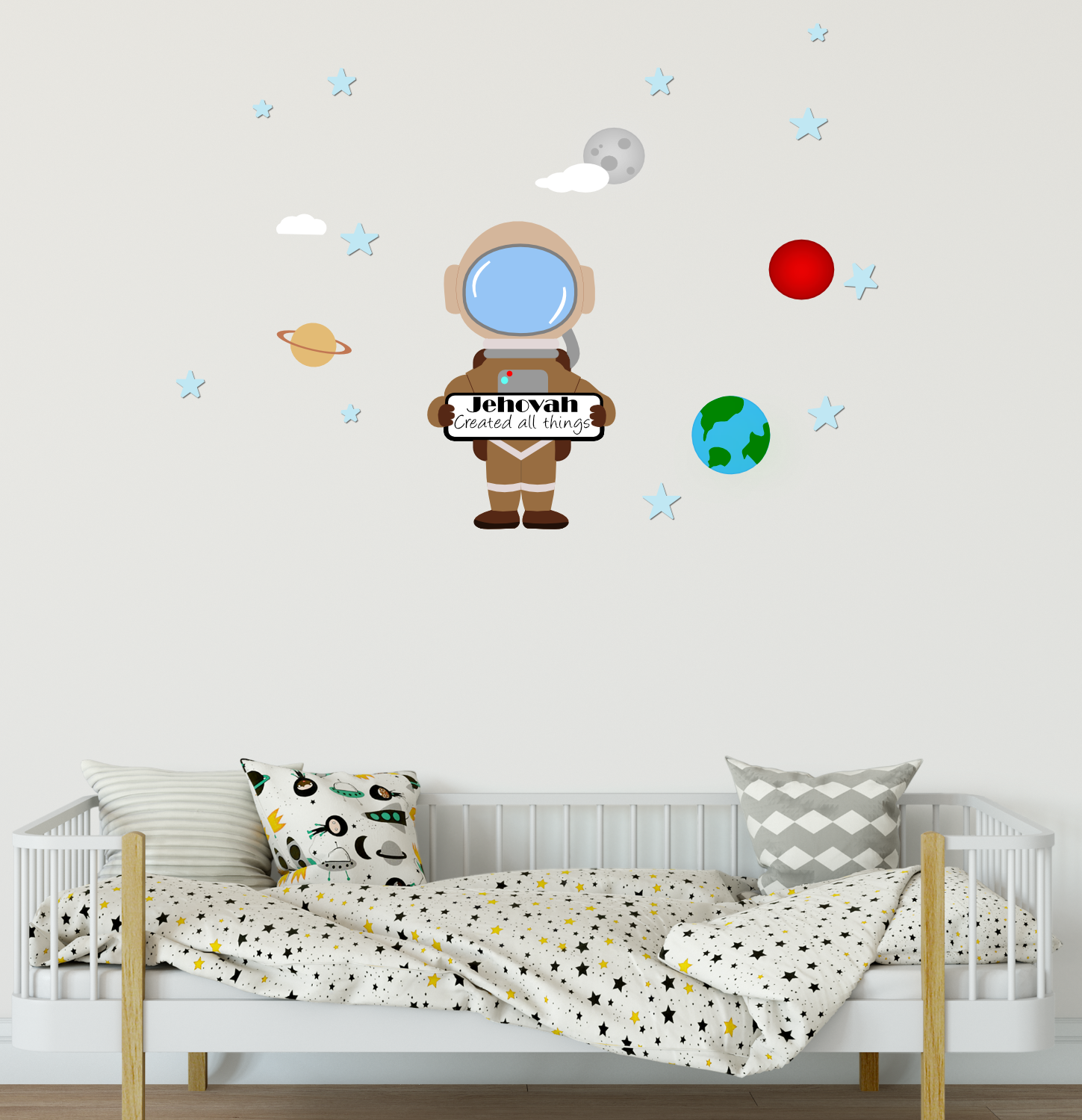 Jehovah Created All Things - Astronaut Kids Wall Decal