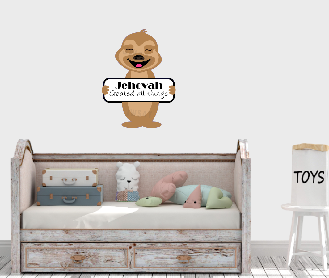 Jehovah Created All Things Jehovah's Friend Wall Decal - Sloth